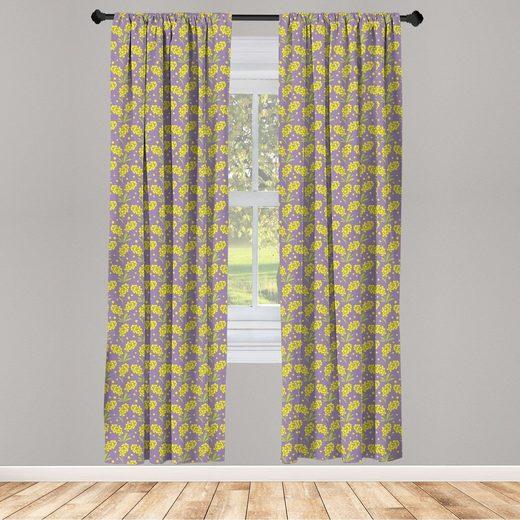 Gardine »Fensterbehandlungen 2 Panel Set für Wohnzimmer Schlafzimmer Dekor«, Abakuhaus, Frühling Mimosa Blumen-Blüten-Kunst