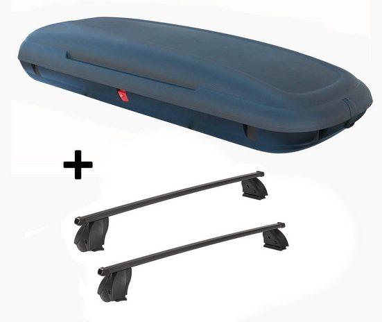 VDP Fahrradträger, Dachbox VDPCA480 480 Liter carbonlook + Dachträger K1 MEDIUM kompatibel mit Fiat Fiorino 94-08