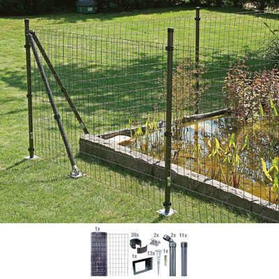 GAH Alberts Schweissgitter »Fix-Clip Pro®«, (Set), 153 cm hoch, 25 m, anthrazit beschichtet, mit Bodenhülsen