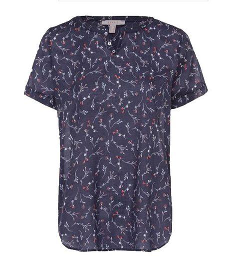 Esprit Blusentop »ESPRIT Bluse geblümtes Damen Blusen-Shirt mit Serafino-Ausschnitt Trend-Bluse Blau«
