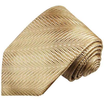 Paul Malone Krawatte »Designer Seidenkrawatte Herren Schlips modern gestreift 100% Seide« Schmal (6cm), gold 2012