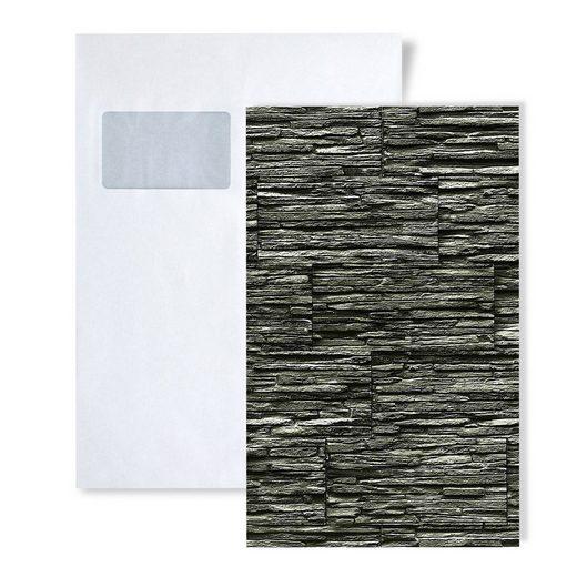 Edem Küchentapete »S-1003-34«, glänzend, naturalistisch, Stein-Optik, (1 Musterblatt, ca. A5-A4), schwarz, anthrazit, grau