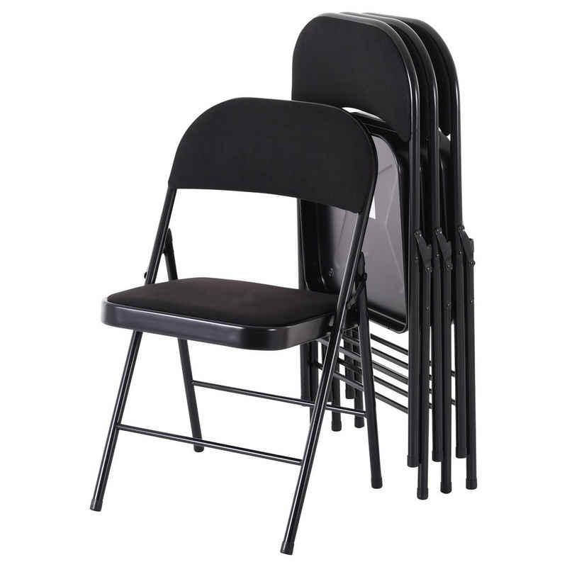Raburg Klappstuhl »Gästestuhl 4er Set ELIAS in SCHWARZ mit Stoffbezug, Gestell in SCHWARZ, praktischer & kompakter Konferenz-Stuhl, stabiles Faltstuhl-Set aus Stahl, klappbar, belastbar bis 130 kg«