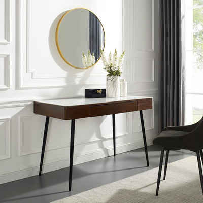 Leonique Schminktisch »Malou«, Konsolentisch, Schreibtisch mit Keramiktischplatte in Marmoroptik