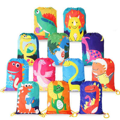 BeebeeRun Lernspielzeug (Give Aways Mitgebseltüten, Dino Partytüten, Geschenktaschen, 12-St., 12 Stück Mitgebsel Kindergeburtstag Geschenktüten), Dinosaurier Gastgeschenke Beutel für Kinder Geburtstag
