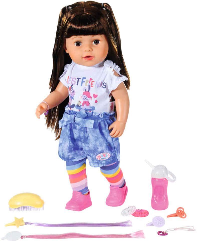 Baby Born Stehpuppe »Sister brunette, 43 cm«, mit lebensechten Funktionen