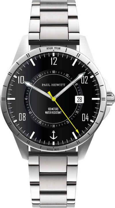 PAUL HEWITT Quarzuhr »Tide Runner Schwarz Silber Metall und Nato Oliv, PH002831«, (Set, 2-tlg., mit Wechselband)