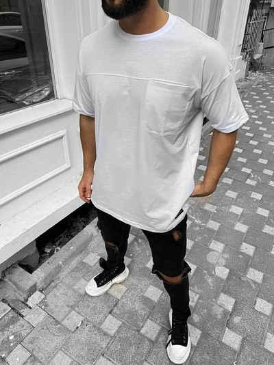 Megaman Jeans Oversize-Shirt »Oversize Herren T-Shirt mit Tasche Long-Tee Basic Shirt Longshirt Premium Qualität Tops Kurzarm Fashion«
