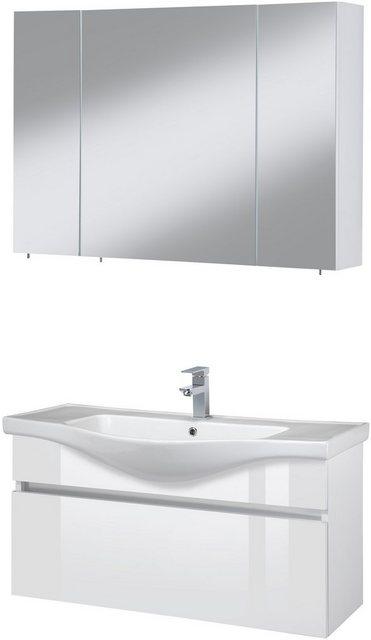 Badezimmer Sets - Badmöbel Set »Dinar«, (3 tlg), Premium Waschtisch und Spiegelschrank, Breite 100 cm  - Onlineshop OTTO
