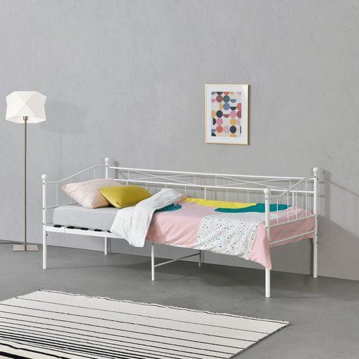 en.casa Metallbett, »Arjeplog« Tagesbett Einzelbett Jugendbett Gästebett 90x200cm Weiß