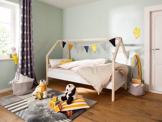 Lüttenhütt Daybett »Janne«, aus schönem massivem Kiefernholz, Einzelbett, in einer Haus-Optik Form, in verschiedenen Farbvarianten erhältlich, Liegefläche 90x200 cm