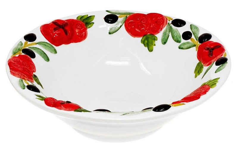 Lashuma Obstschale »Tomate Olive«, Keramik, Servierschüssel rund, Dekoschüssel Ø 27 cm