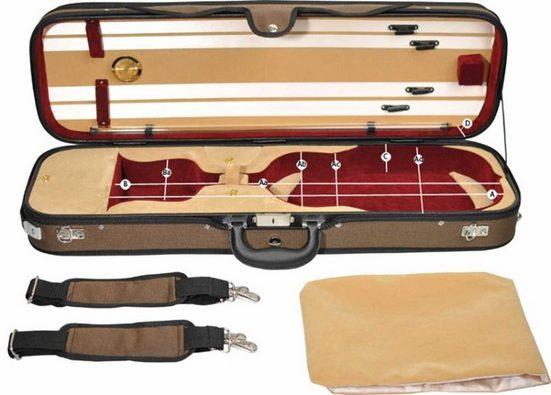 Steinbach Violinen-Koffer »Steinbach 4/4 Geigenkoffer Rechteckmodell beige weinrot mit Rucksackriemen«