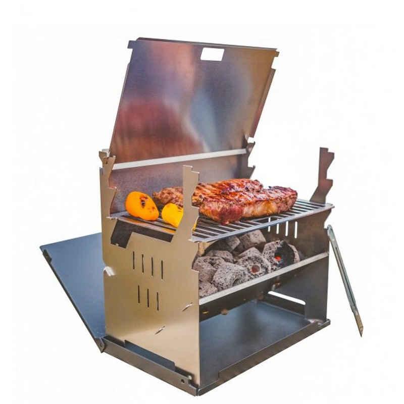 FENNEK Holzkohlegrill »Outdoor Grill - 100% Edelstahl - zerlegbar - Grillfläche 27 x 18,3cm«