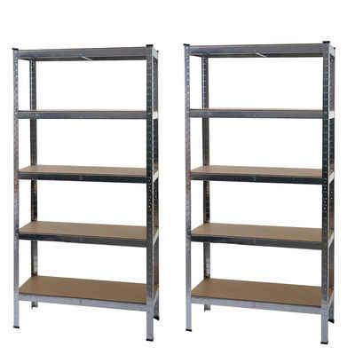 MCW Schwerlastregal »MCW-E33-2«, Set, Stecksystem, Ebenenhöhe kann individuell festgelegt werden, 5 Holzböden