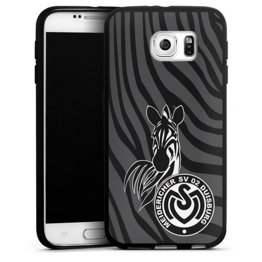 DeinDesign Handyhülle »Zebra Dunkel - MSV« Samsung Galaxy S6, Hülle Zebra Muster MSV Duisburg