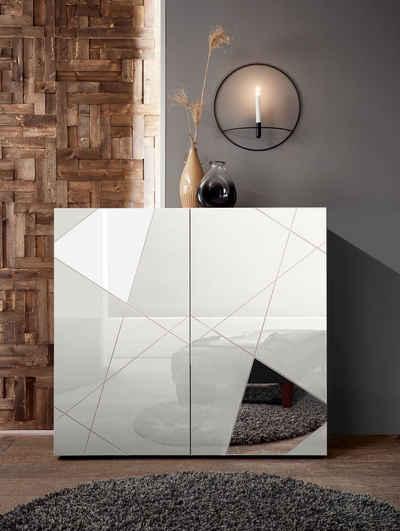 LC Highboard »Vittoria Highboard«, Breite 121 cm, Front mit Siebdruck und Spiegel