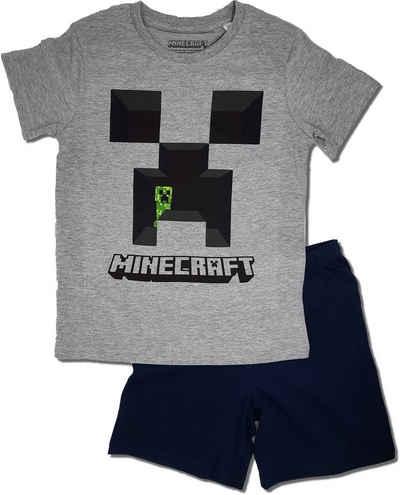 Minecraft Pyjama Set Schlafanzug Shirt Shorts Kurzarm Jungen Mädchen 2 Tlg