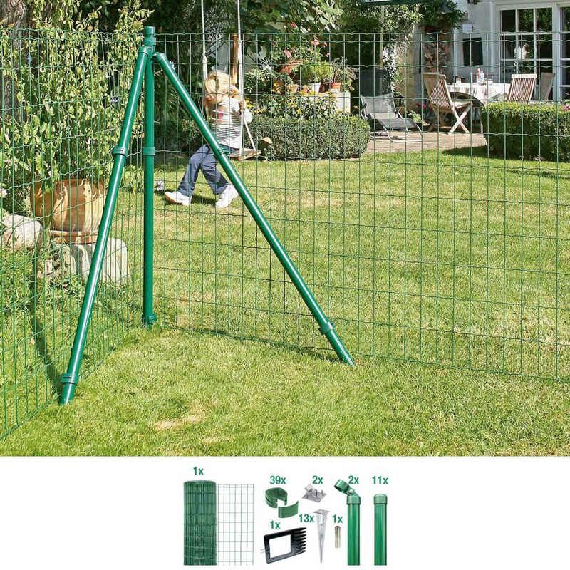 GAH Alberts Schweissgitter »Fix-Clip Pro®«, (Set), 153 cm hoch, 25 m, grün beschichtet, mit Bodenhülsen