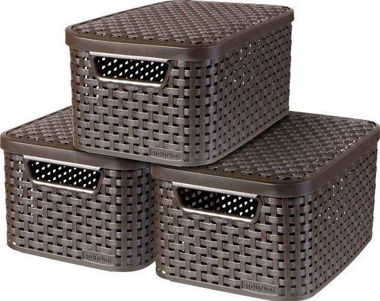 Curver Aufbewahrungsbox »Style Box S« (Set, 3 Stück), dunkelbraun