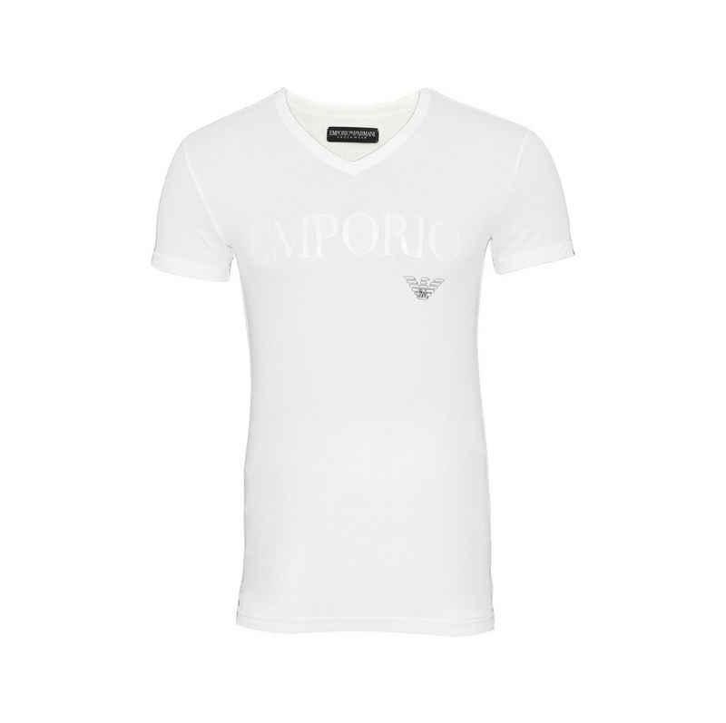 Emporio Armani T-Shirt »V-Ausschnitt mit großem Schriftzug«