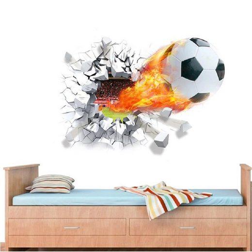 CreateHome Wandtattoo »Fußball in Flammen« (3D-Fußballmotiv 70 x 50 cm, 3D-Fußballmotiv), selbstklebend, rückstandlos abziehbar