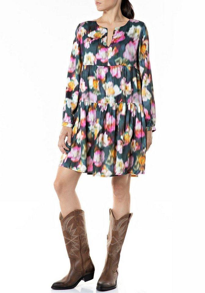 replay -  Sommerkleid süßes Minikleid aus reiner Viskose-Qualität mit Bumenprint
