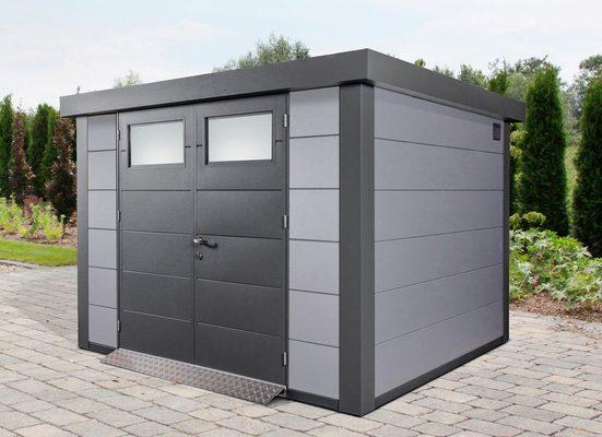 WOLFF FINNHAUS Stahlgerätehaus »Eleganto 3024«, BxT: 318x258 cm, lichtgrau