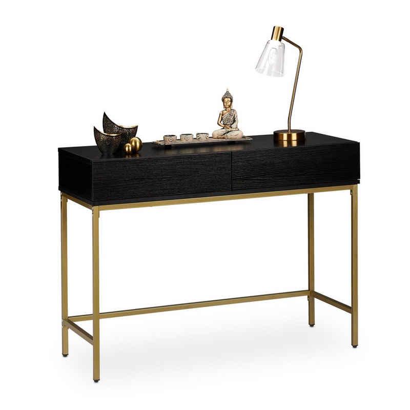 relaxdays Konsolentisch »Konsolentisch Gold Schwarz«
