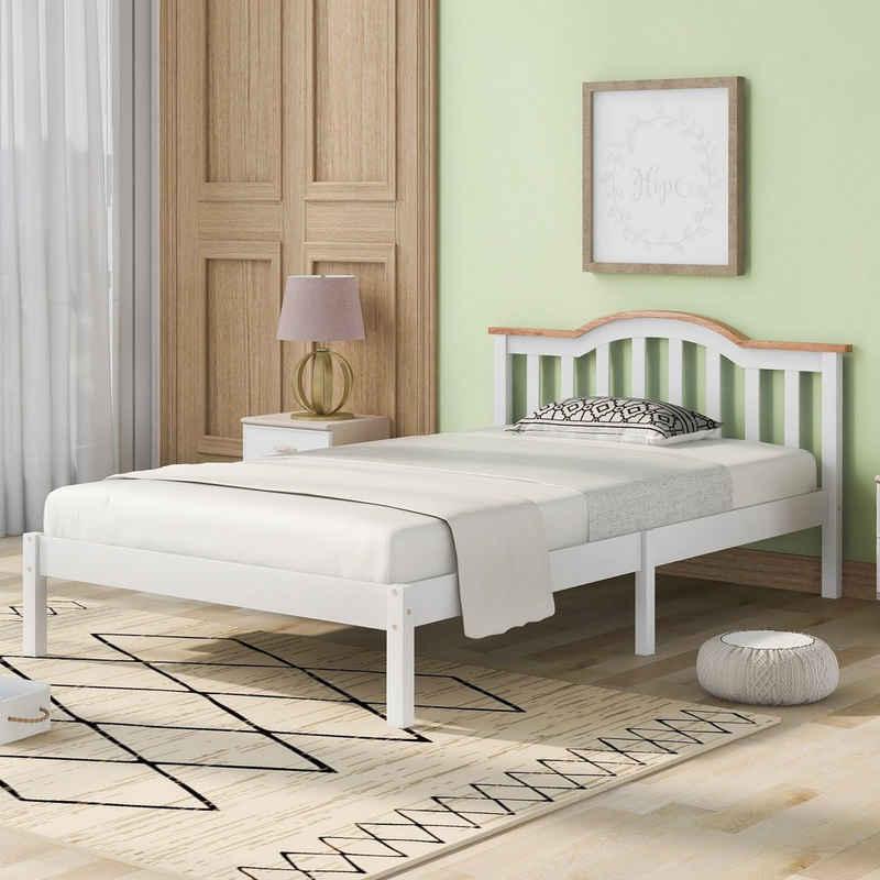 Merax Holzbett »Rainbow Day«, Bettgestell 90x200cm, Holzbett mit Kopfteil und lattenrost, Kinderbett Jugendbett Gästebett