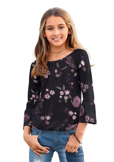KIDSWORLD 3/4-Arm-Shirt mit großem elstischen Halsausschnitt