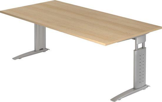 bümö Schreibtisch »OM-US2E-S«, höhenverstellbar - Rechteck: 200x100 cm - Gestell: Silber, Dekor: Eiche