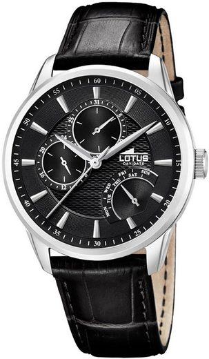 Lotus Multifunktionsuhr »UL15974/A Lotus Herren-Armbanduhr schwarz Analog«, (Analoguhr), Herren Armbanduhr rund, groß (ca. 44mm), Lederarmband schwarz
