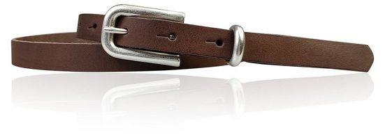 FRONHOFER Taillengürtel »18649« sehr schmaler Damengürtel silberne Schnalle und Schlaufe, echt Leder