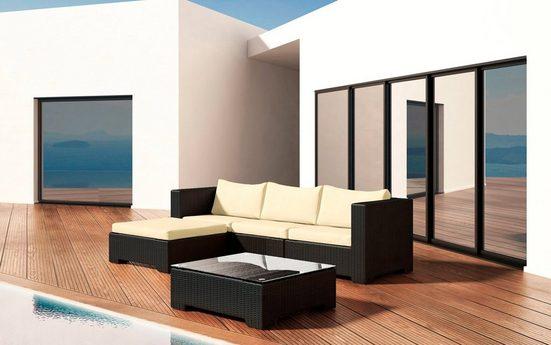 BAIDANI Loungeset »Beach«, 12-tlg., 3-Sitzer, Hocker, Tisch 70x70 cm, Alu/Polyester