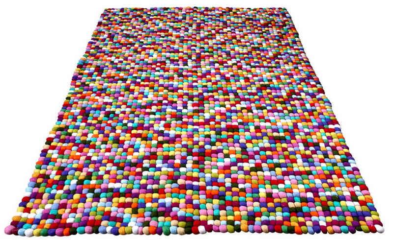 Wollteppich »Maja«, Home affaire, rechteckig, Höhe 22 mm, reine Wolle, Filzkugel-Teppich, Wohnzimmer
