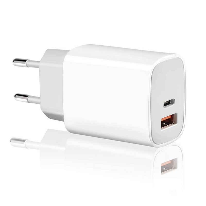 neue dawn »20W USB C Ladegerät mehrfach 2 Port Schnellladegerät für iPhone 13 / 13 PRO / 13 PRO MAX /13 MINI / 12 / 12 Mini / 12 Pro / 12 Pro Max / SE 2020/ 11 / 11 Pro / iPad Air / Mini / Pro 2020/ MagSafe Duo / iPhone XR / X / XS / XS Max / 8 / 8 plus / 7 / 7plus / 6 / 6 plus MagSafe Duo USB-C Netzteil (ohne Ladekabel)« USB-Ladegerät (20W Schnellladegerät)