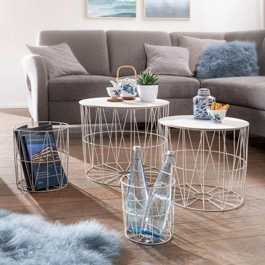 FINEBUY Satztisch »FB55970«, Design Beistelltisch 4er Set aus Körben Weiß Moderne Korbtische mit abnehmbaren Tablett Satztisch 4-teilig mit Stauraum