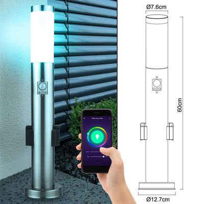 etc-shop LED Außen-Stehlampe, Außen Steh Lampe Bewegungsmelder Garten Steckdose App Sprachsteuerung im Set inkl. RGB LED Leuchtmittel