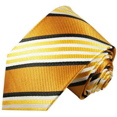 Paul Malone Krawatte »Moderne Herren Seidenkrawatte gestreift 100% Seide« Schmal (6cm), gold orange 264