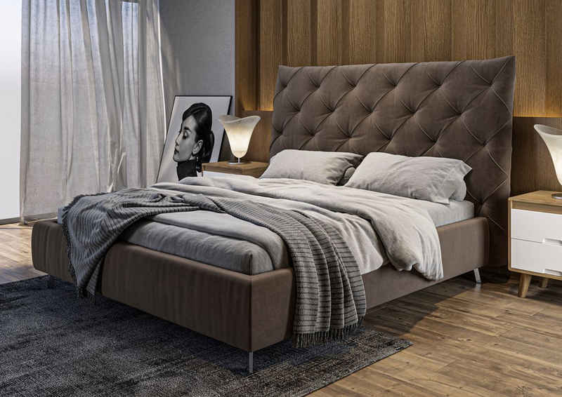 Places of Style Polsterbett »Elloree«, Kopfteilhöhe 143cm, belastbar bis 280 kg, auch in NaturLEDER, auch in Überlänge 220cm