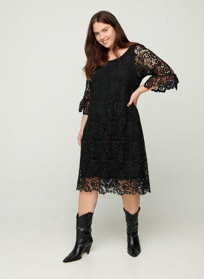 Festtagsmode - Zizzi Spitzenkleid Große Größen Damen Einfarbiges Kleid mit 3 4 Ärmel und Rundhals ›  - Onlineshop OTTO