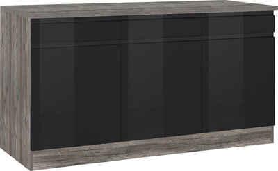 HELD MÖBEL Unterschrank »Virginia« 85 cm hoch, 150 cm breit, 3 Schubladen, 3 Türen, hochwertige MDF-Fronten, griffloses Design