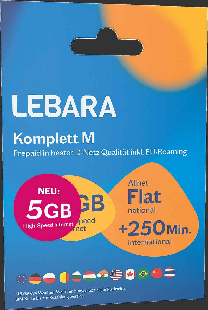Lebara »Komplett M SIM-Paket (Prepaid Mobilfunk)« Prepaidkarte