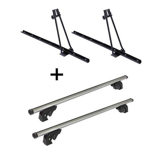 VDP Fahrradträger, 2x Fahrradträger ORION + Dachträger/Relingträger VDP LION1 kompatibel mit Kia Clarus (5 Türer) 95-01