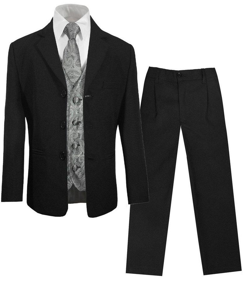 paul malone kinderanzug 5-teilig »festlicher anzug für jungs schwarz  kommunionanzug« (set, 5-tlg., mit sakko, hose, hemd, weste und krawatte)  grau,