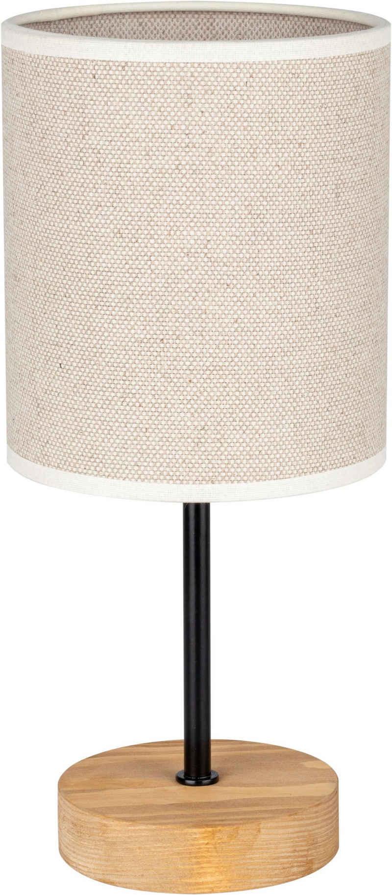 OTTO products Tischleuchte »Emmo«, Tischlampe mit hochwertigem Textilschirm, Leuchtenfuß aus Holz und Metall, Naturprodukt, Nachhaltig mit FSC®-Zertifikat, Made in Europe
