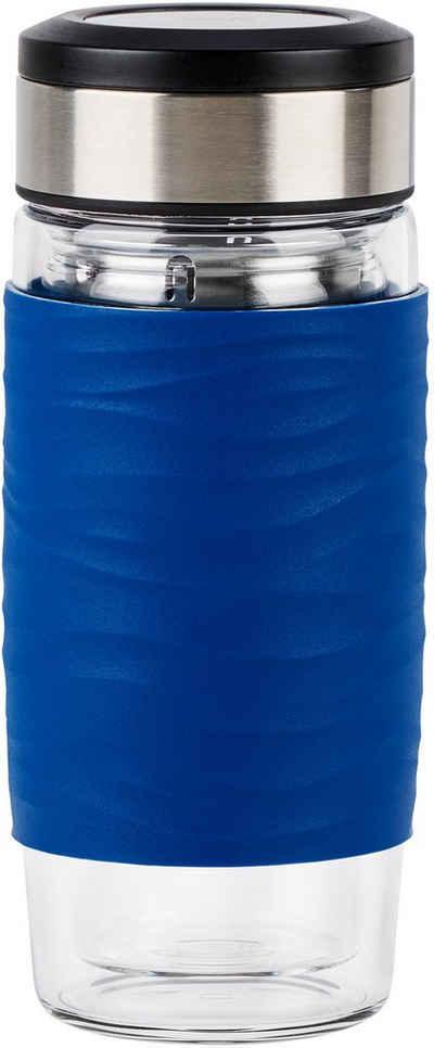 Emsa Teeglas »Tea Mug«, Glas, Silikon, Edelstahl, 400 ml, 100% dicht, 3-teilig