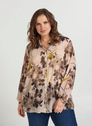 Zizzi Langarmshirt Große Größen Damen Bluse mit Blumenprint und Kragen