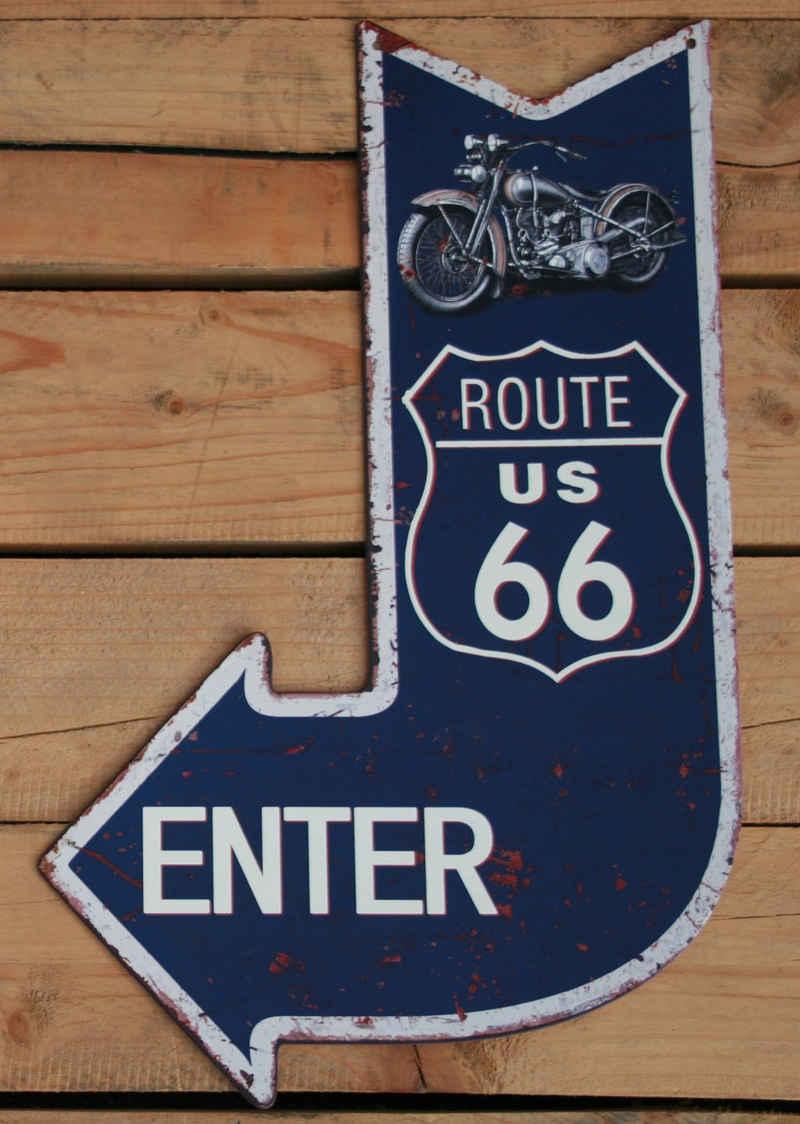 Moritz Metallschild »Blechschild Route 66«, 40 x 25cm Vintage Retro Deko Schild Metallschild Wandbild Wanddeko Schild Deko Spruch